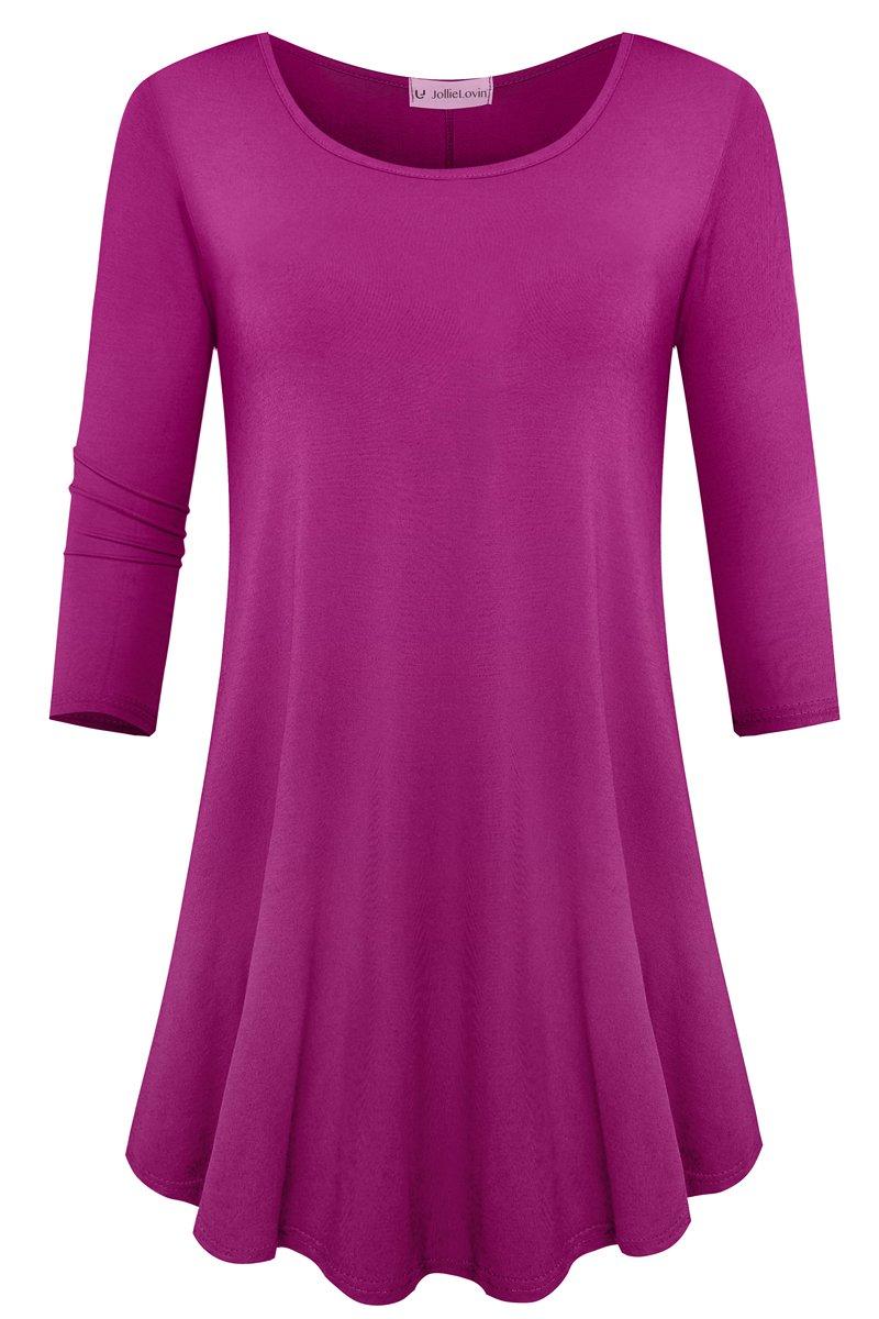 JollieLovin Womens 3/4 Sleeve Loose Fit Swing Tunic Tops Basic T Shirt (Fushia, S)