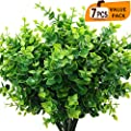 Eladeco Artificial Boxwood Pack Of 7 Artificial Farmhouse Greenery Boxwood Stems Fake Plants And Greenery Springs For Farmhouse Home Garden Office Patio Wedding And Indoor Outdoor Decoration