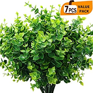 ElaDeco Artificial Boxwood (Pack of 7),Artificial Farmhouse Greenery Boxwood Stems Fake Plants and Greenery Springs for Farmhouse,Home,Garden,Office,Patio,Wedding and Indoor Outdoor Decoration 80