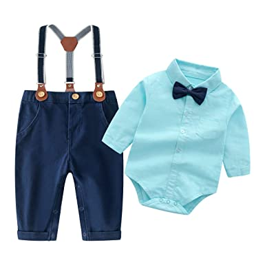 432b5db35 Baby Boys Gentleman Outfits Suits, Infant Long Sleeve Shirt+Bib Pants+Bow  Tie
