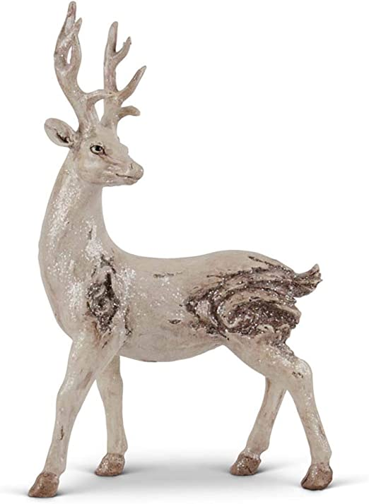 12 inch K/&K Interiors 53936A Set of 2 Resin Light Brown Deer with Antique Finish
