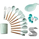 Silicone Cooking Utensils Set of (21) PCS Wooden Utensils Tool for Nonstick Cookware,Cooking Utensils Set with Bamboo…