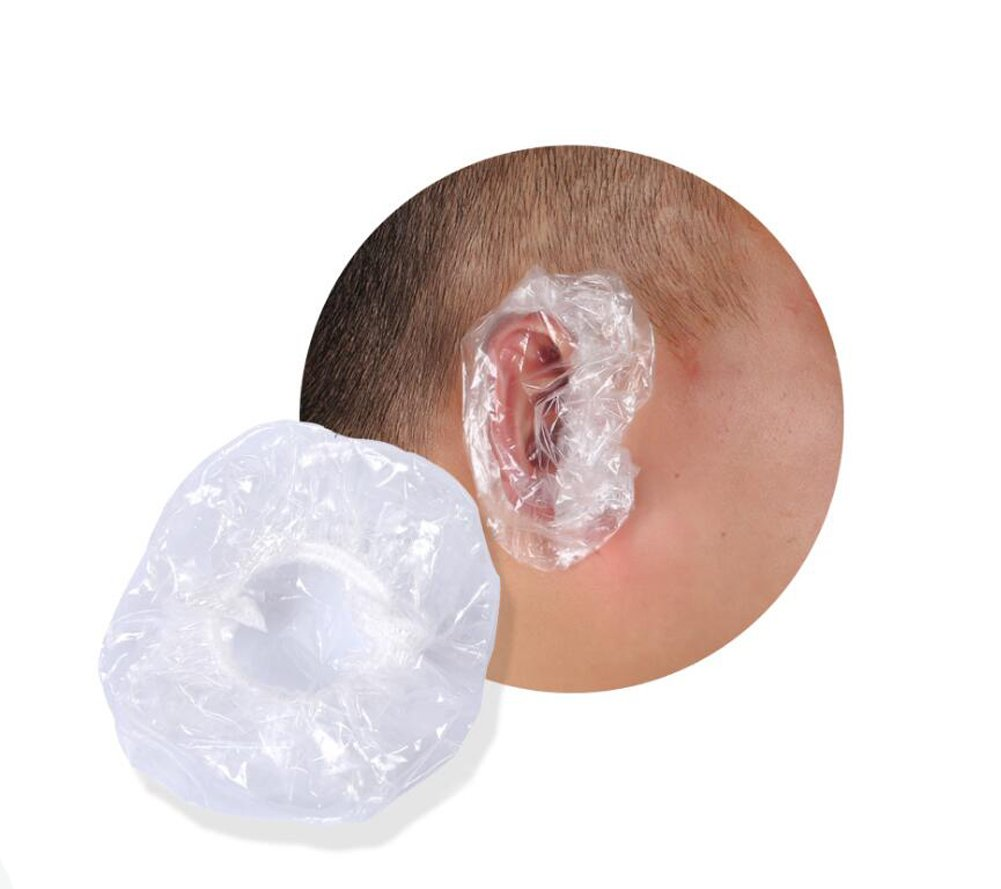 100PCS 3.4'' Diameter Transparent Disposable Waterproof Plastic Ear Caps Ear Protection Ear Protector Cover Earmuffs for Hair Dye Bath Shower Elandy