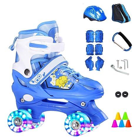 ZCRFY Patines Niños Roller Skates Doble Fila 4 Rueda Zapatos Deslizantes Patinaje Cuádruple Ajustable Flash para