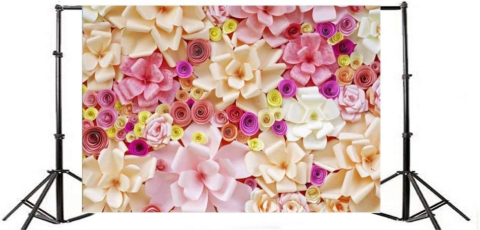 GoHeBe 7x5FT Vinyl Backdrop Artificial Flowers Made of Paper Photography Background Pink Tone Blossom Flowers Holiday Birthday Party Decorations Romantic Girls Baby Personal Backdrop Photo Studio