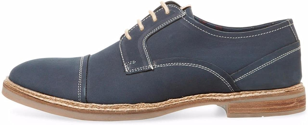 Ben Sherman Leon Jute Cap-Toe Navy Leather Oxfords Size 10
