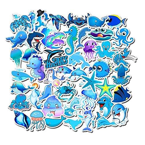 (Honch Vinyl Marine Animals Stickers Pack 49 Pcs Blue Marine Animals Decals for Laptop Ipad Car Luggage Water Bottle Helmet Truck Boys)