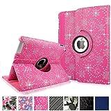 (US) Cellularvilla Apple Ipad2 Ipad3 Ipad4 Gen Genration Pink Glitter 360 Degree Rotating Flip Folio Case Cover with Auto Sleep/wake Feature Stand