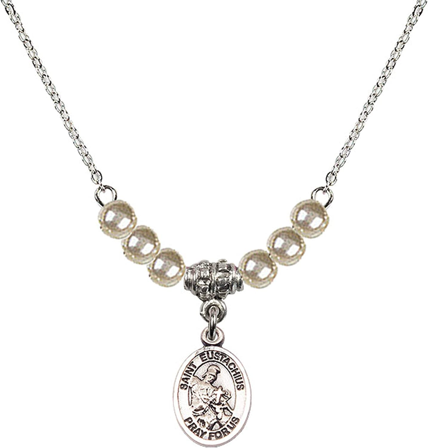 Bonyak Jewelry 18 Inch Rhodium Plated Necklace w// 4mm Faux-Pearl Beads and Saint Eustachius Charm