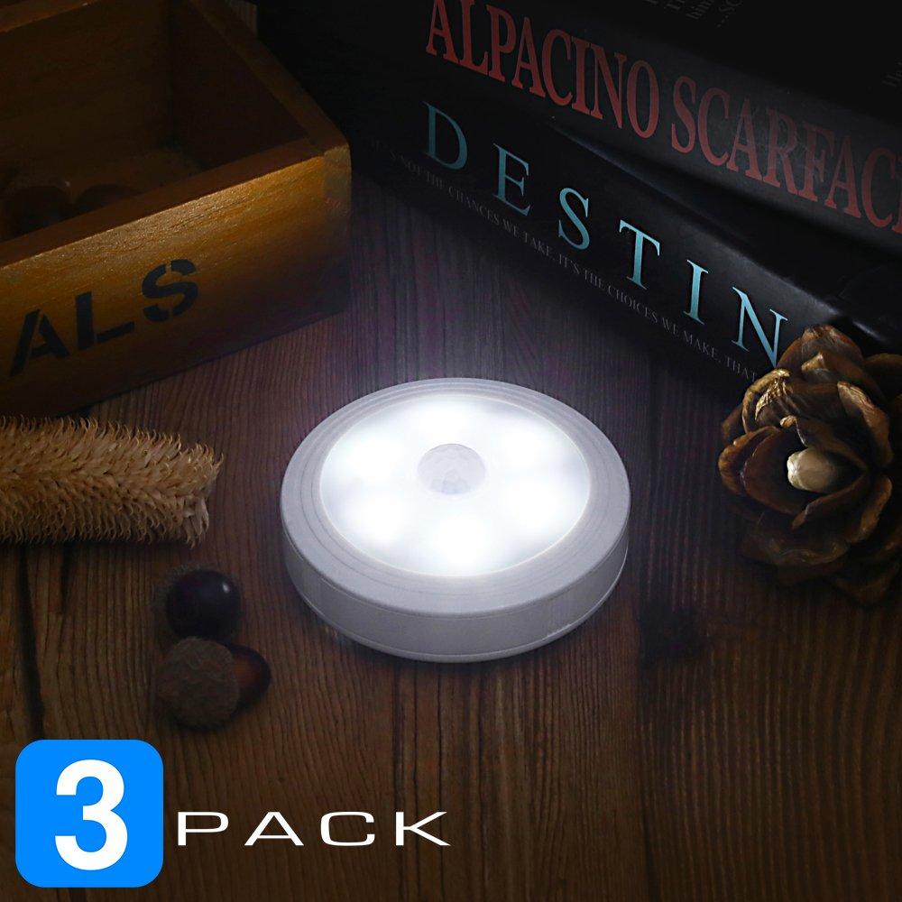Famirosa Motion Sensor Closet Lights,Cabinet Light,Stick-on Anywhere LED Night Light Indoor Security Light for Closet/Wardrobe/Kitchen/Hallway/Bathroom/Laundry Room/Stairs/Step (White 3 Pack)