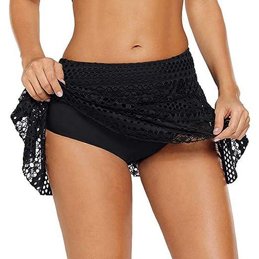 SYN Falda de Bikini para Mujer, de Encaje sólido, para Vacaciones ...