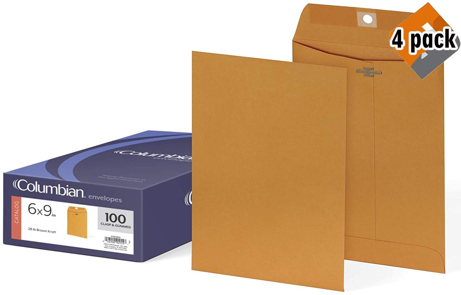 Columbian Clasp Envelopes, 6 x 9 Inches, Brown Kraft, 100 Per Box (CO955) - 4 Pack by Columbian Envelopes
