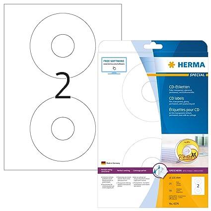 Herma 4374 - Etiquetas para impresoras (50 unidades), transparente ...