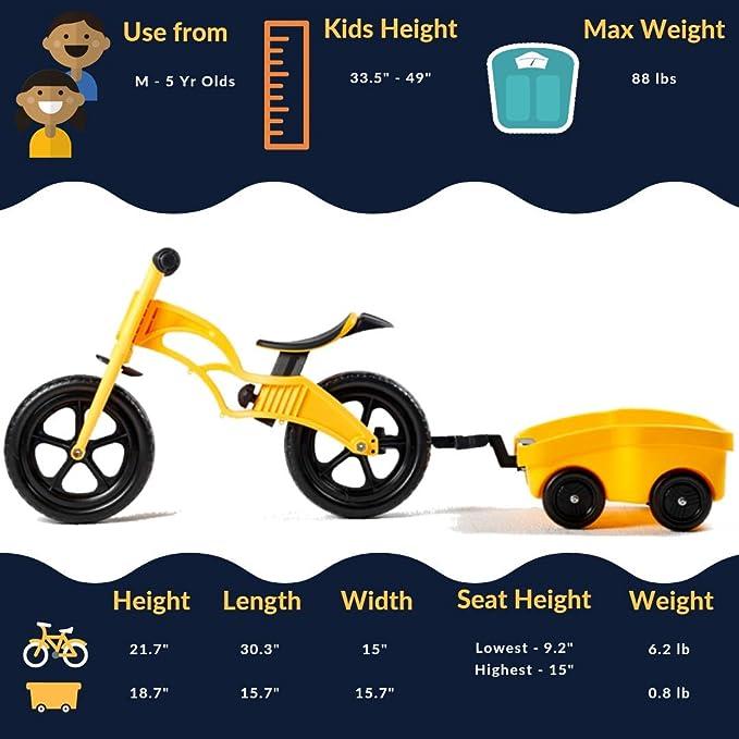 Amazon.com: POPBIKE 2-in-1 Balance Bike with Trailer/Wagon ...