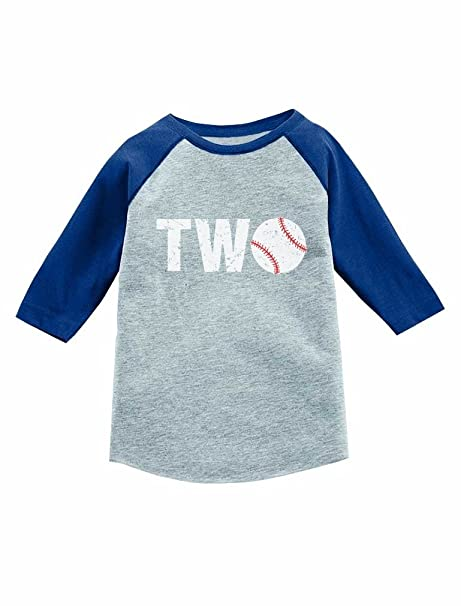 Tstars 2nd Birthday Gift Baseball Fan 3 4 Sleeve Jersey Toddler Shirt 2T Blue