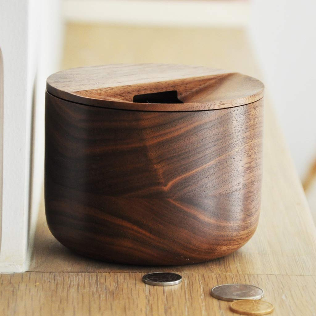 TIAN piggy bank, Black Walnut Solid Wood Piggy Bank Coin Box Storage Tank Porch Storage Box Ornament Gift by TIAN piggy bank (Image #6)