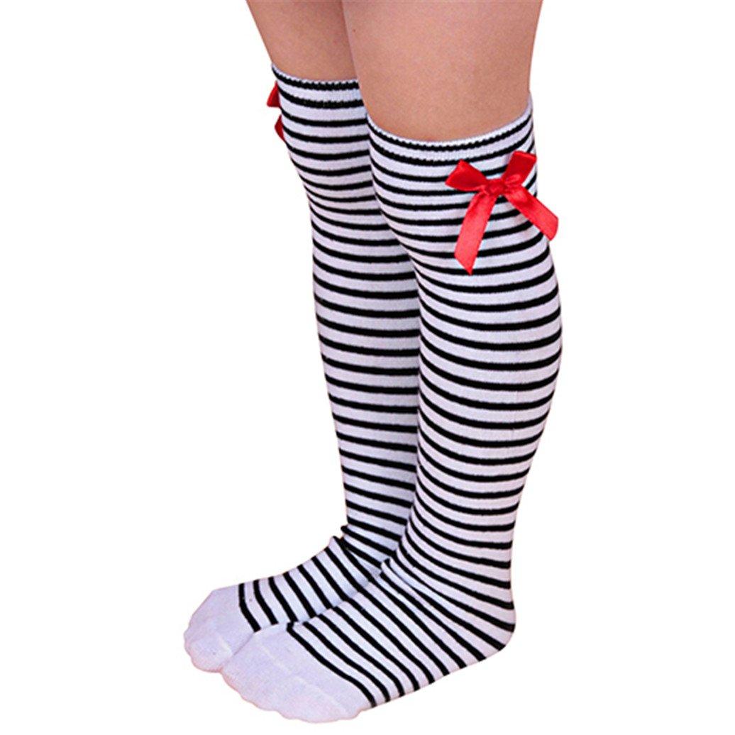 Academyus Girls Cotton Knee Length Socks Kids Children Bowknot Striped Winter Leg Warmers