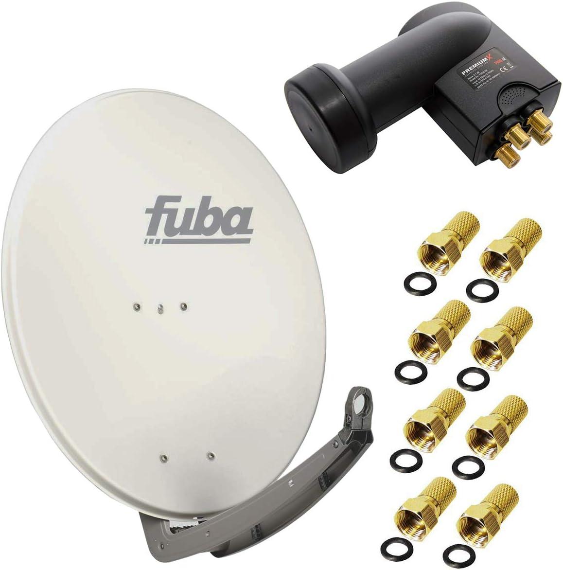 Fuba DAA 780 A 74 x 84 cm – Antena parabólica (aluminio antratzit + LNB Quad de 0,1 dB PremiumX PXQS-04 04 Quattro Switch para conexión directa de 4 ...