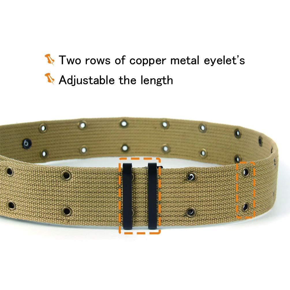Oleader WW2 US Army Pistol Belt Combat Webbing Canvas Belt with Metal Buckle,Khaki