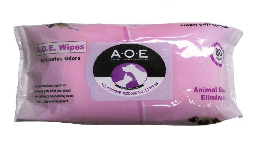 2 Packs Animal Odor Eliminator (AOE) All Purpose Deodorizing Wipes 7'' x 8'' - 80ct X 2 Packs
