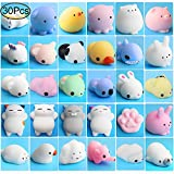 Mochi Animals Stress Toys, Outee 30 Pcs Mochi Squishy Toy Mini Animal Squishy Stress Relief Animal Toys Mochi Squeeze Toys Mini Seal Bear Cat Tiger Pig Smile Cloud Squishies, Random Color