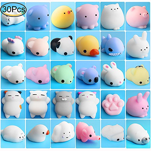 30 Seal (Mochi Animals Stress Toys, Outee 30 Pcs Mochi Squishy Toy Mini Animal Squishy Stress Relief Animal Toys Mochi Squeeze Toys Mini Seal Bear Cat Tiger Pig Smile Cloud Squishies, Random Color)