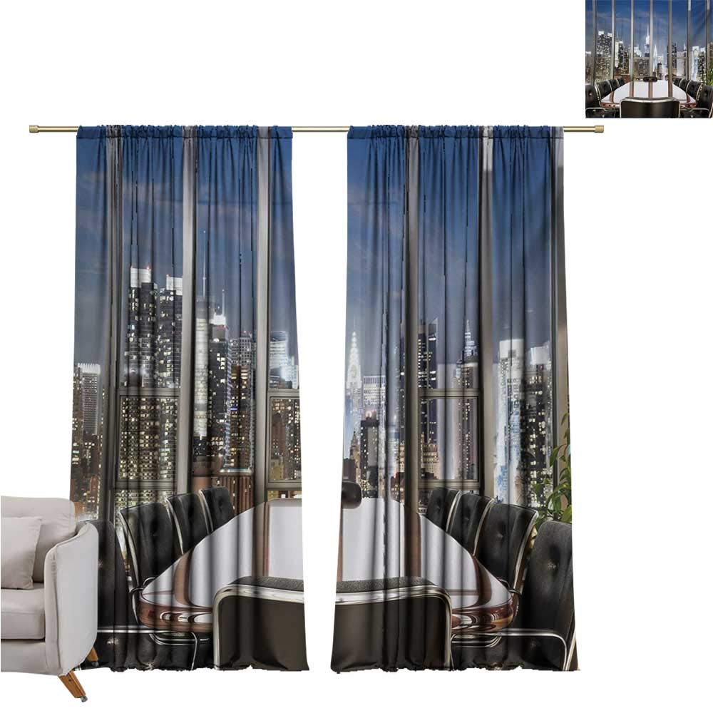 Anzhutwelve Modern,Drapes Girls Business Office Conference Room Table Chairs City View at Dusk Realistic Photo W72 x L108 Drapes Panels