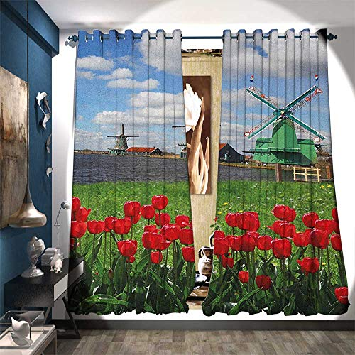 BlountDecor Room Darkening Wide Curtains Traditional Dutch Windmills with Red Tulips in Amsterdam Scenic Field Riverscape Patterned Drape for Glass Door W96 x L84 Multicolor