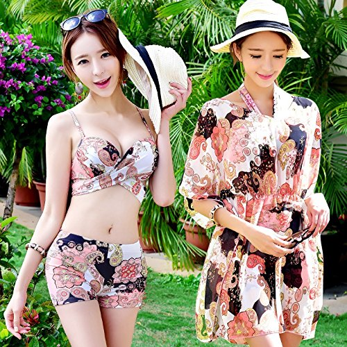 Hot un piccolo bikini spa set Beachwear TIANLU riuniti costume di gran XXL fiore da numero Spring sexy bagno polvere petto donna da dimagrante bianco pezzi 85Twvxw6q