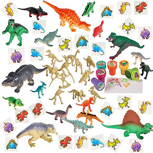60 Pieces Dinosaur Toy Party Favors Playset Including 6 5.5'' Realistic Dinosaur Figures and more