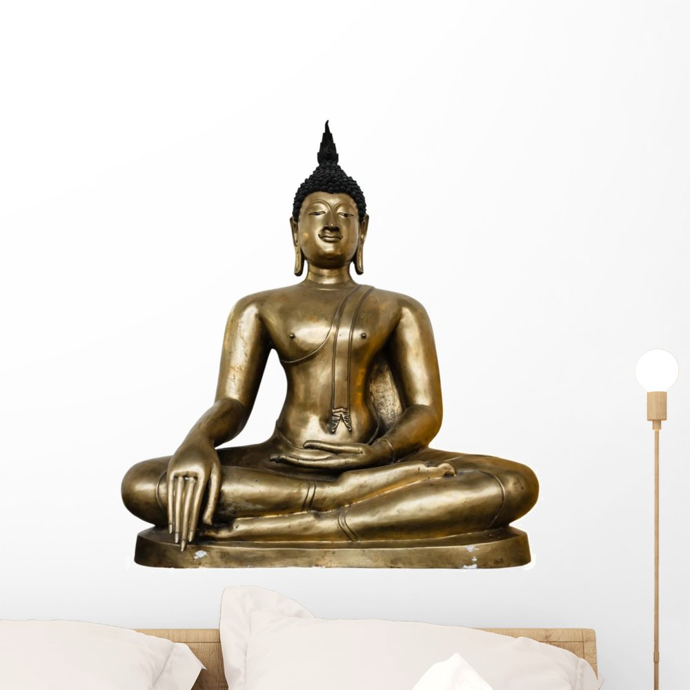 Wallmonkeys Bronze Buddha Statue Background Wall Decal Peel and Stick Graphic WM313306 (24 in H x 21 in W)