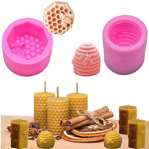 Molde de silicona 3D para velas de abeja, jabón, chocolate, dulces ...