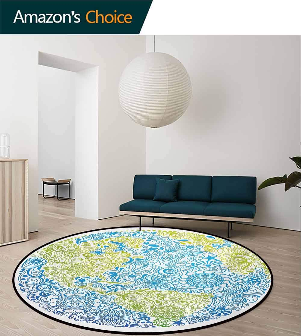 RUGSMAT Floral World Map Modern Washable Round Bath Mat,Climate Change Theme Planet with Ethnic Floral Leaves Environment Art Non-Slip Bathroom Soft Floor Mat Home Decor,Round-47 Inch