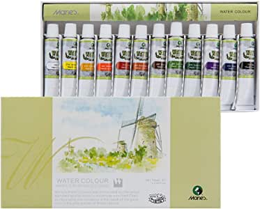 Marie's Student Watercolor Set, Extra Fine Highly Pigmented Paint Set - 12ml Tubes - Assorted Colors - [Set of 12]