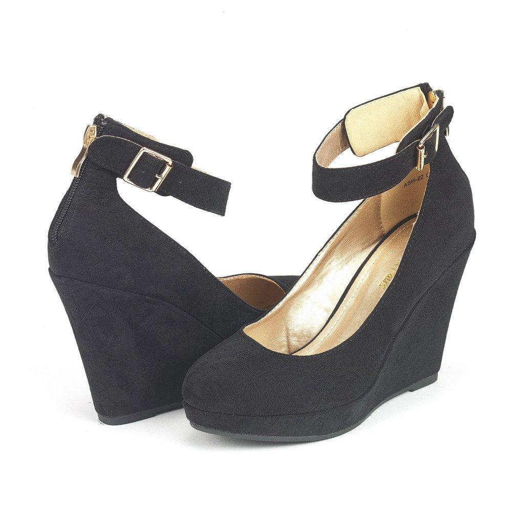DREAM PAIRS ASH-22 Women's Elegant Ankle Strap Rear Zipper Closure Wedge Platform Pumps Shoes Black Size 11
