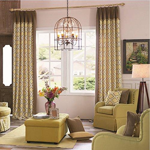 IYUEGO Modern Print Cotton Multi Geometric Double Pleated Lining Blackout Window Curtains/Drape/Panels/Treatment 100