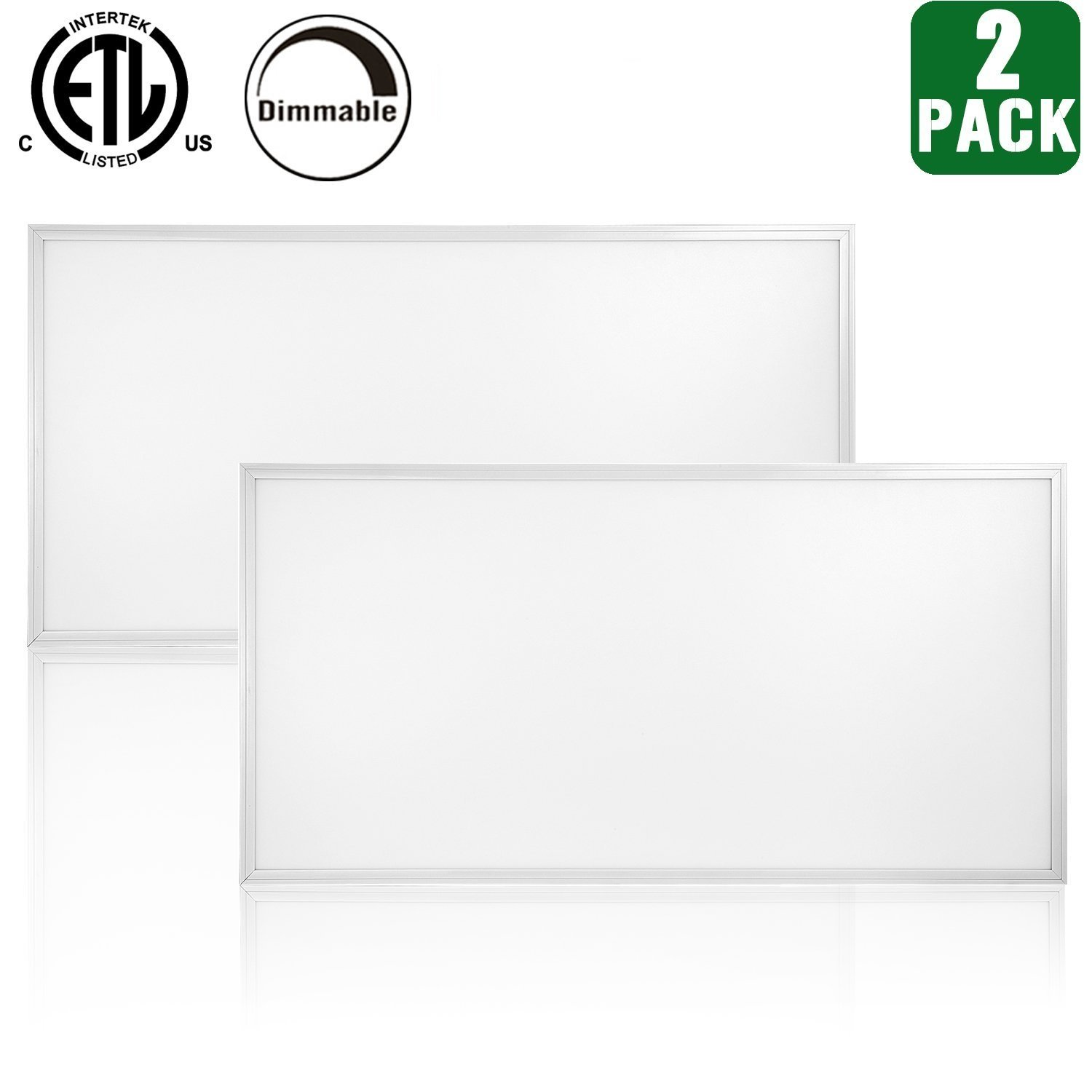 Hykolity 2ft x 4ft 50w LED Troffer Flat Panel Light Ultra Thin Commercial Drop Ceiling Edge-Lit Dimmable Lamp Fixture 6250lm DLC Premium 4.2 Qualified-Pack of 2