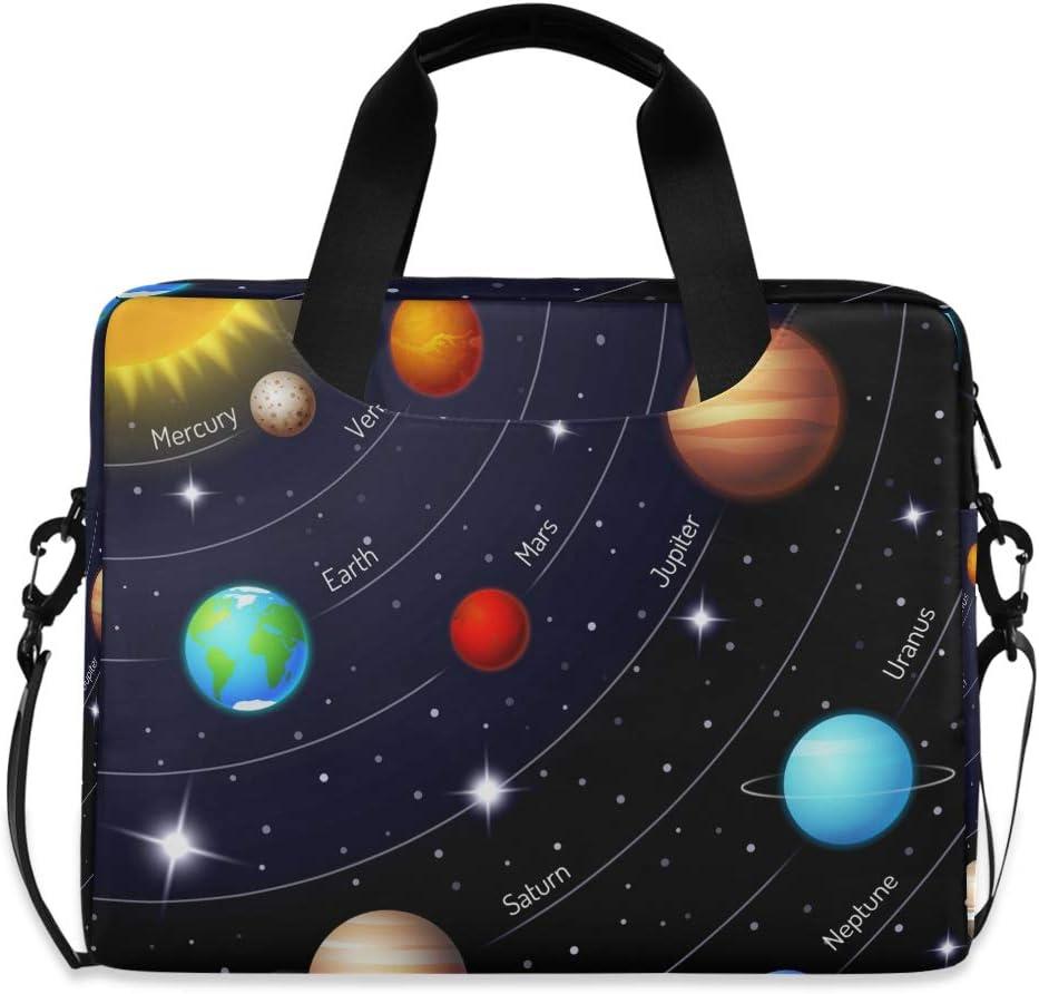 Laptop Shoulder Bag Carrying Briefcase Handbag Sleeve Case Galaxy Solar System Cute Laptop Cases 15.6 for Women