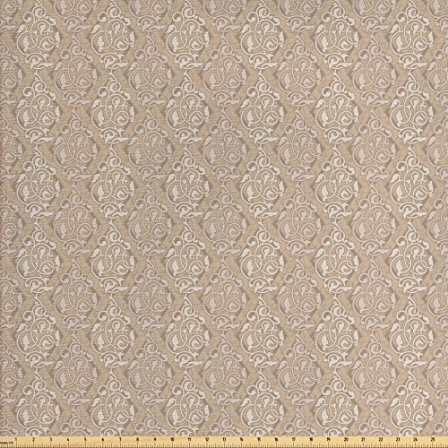 Lunarable Camel Color Fabric by The Yard, Asian Style Antique Artistic Floral Motifs with Diamond Line Pattern Classical, Decorative Fabric for Upholstery and Home Accents, Camel Beige from Lunarable