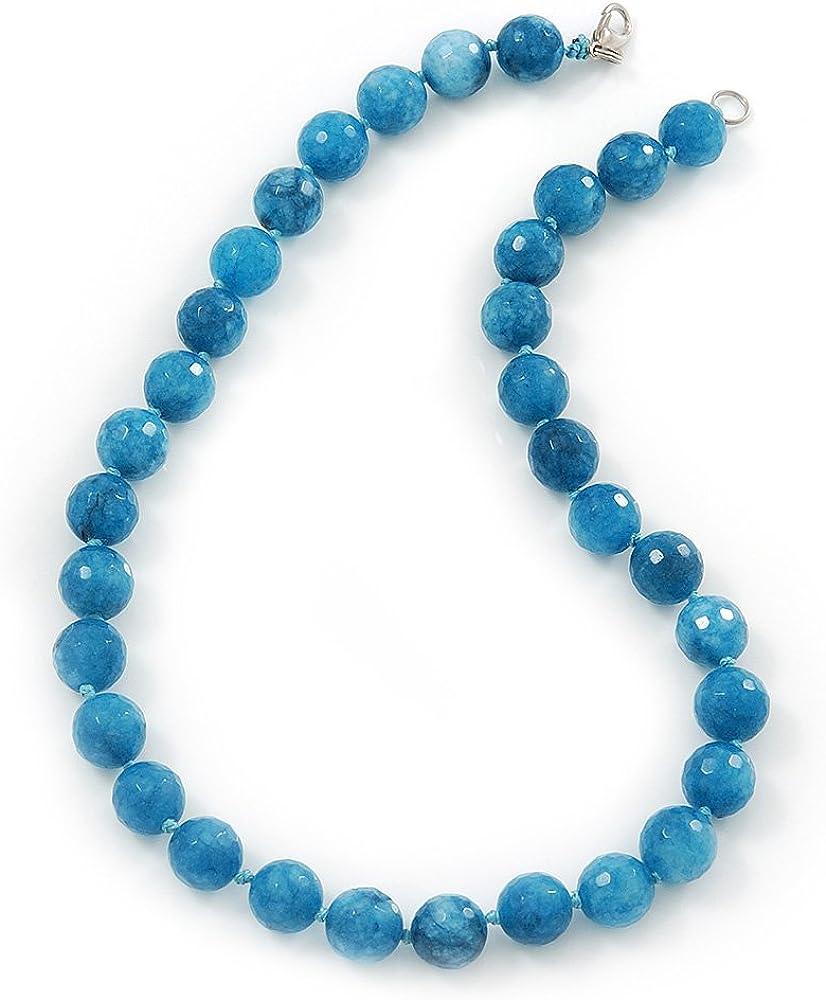 12 mm de ágata azul facetado redondo - collar de piedra semi-preciosa 45 cm L