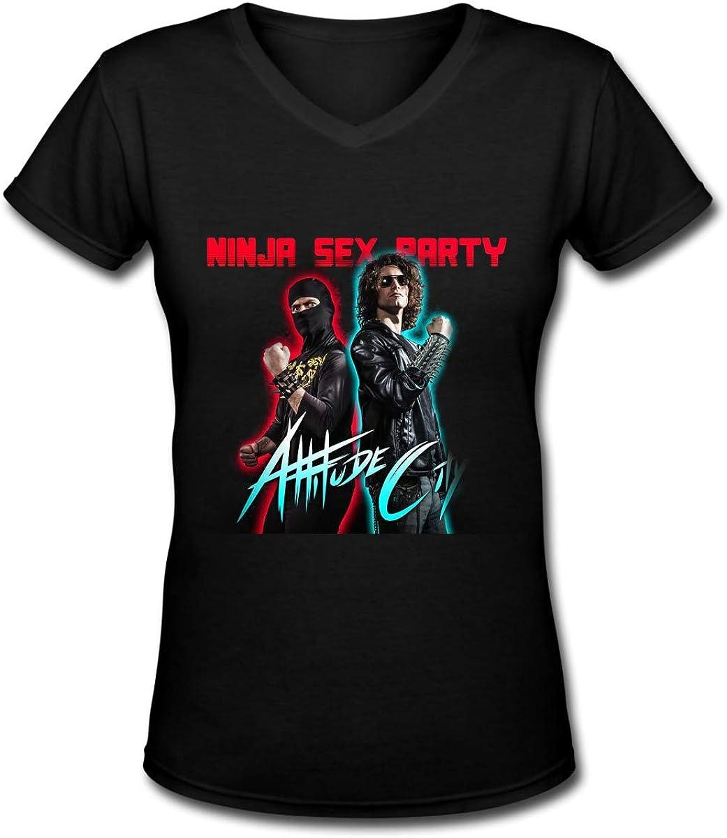 Ninja Sex Party Women Short Sleeve Basic V-Neck Cotton T Shirts Black