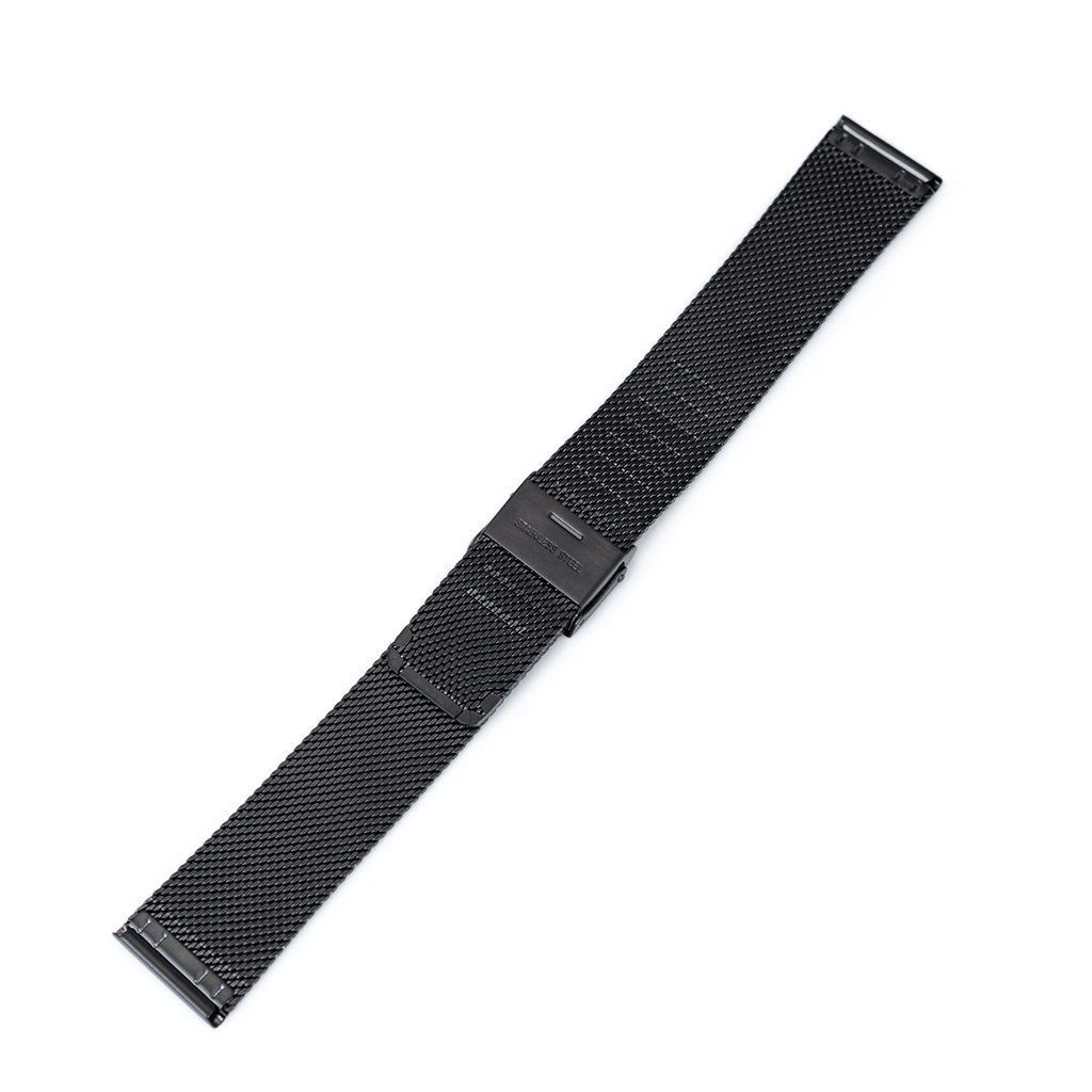 20mm Classic Vintage Knitted Superfine Wire Mesh Watch Band, PVD Black by MiLTAT (Image #4)