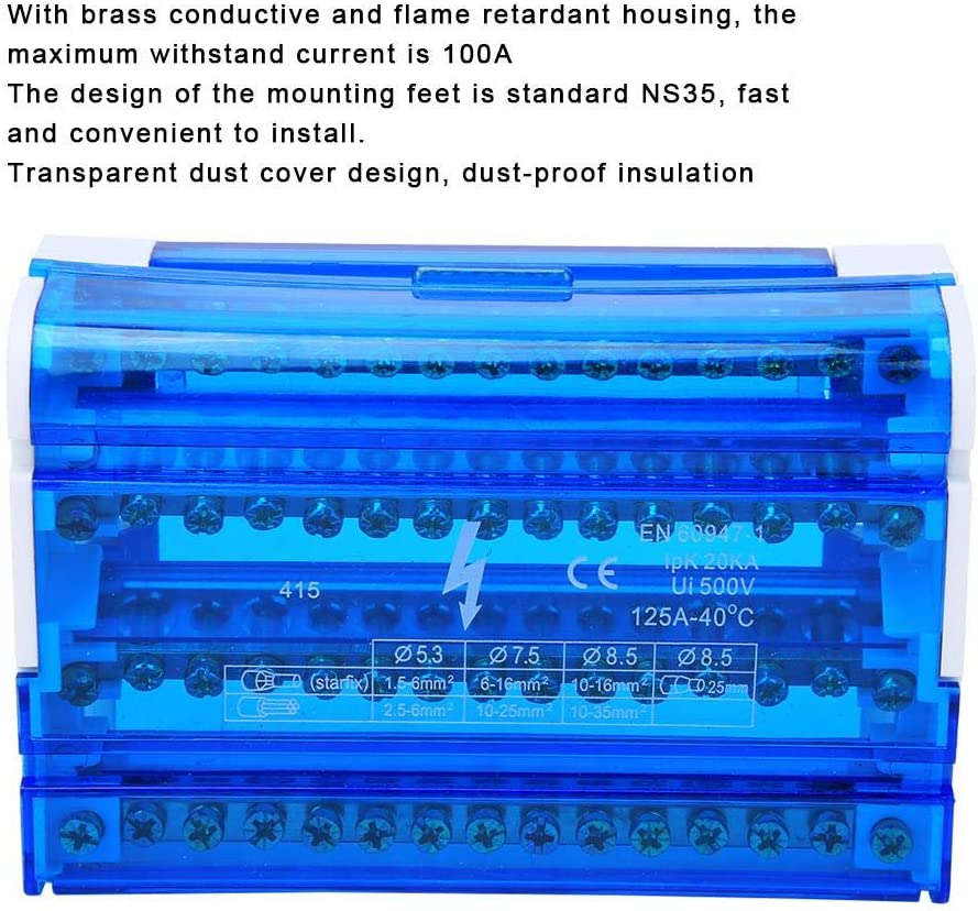 Terminal Distribution Box Din Rail 4-Level Single Phase Terminal Block 4 Input 56 Output 100A Maximum Withstand Current Wiring Block Strip with Transparent Dust Cover