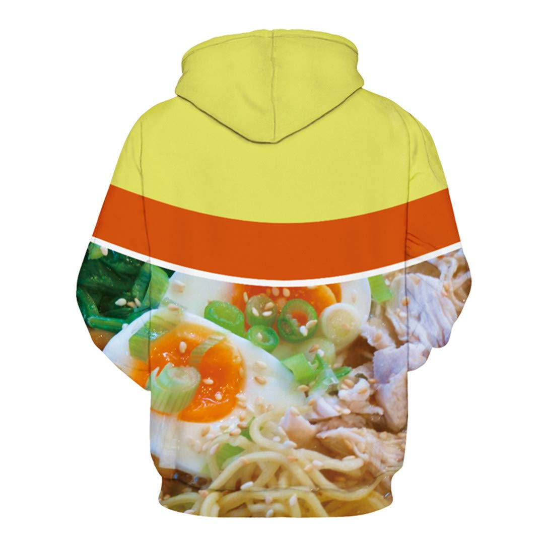 SISEIRES Funny Printed 3D for Women Men Hoodies Ramen with Pocket Streetwear Tops