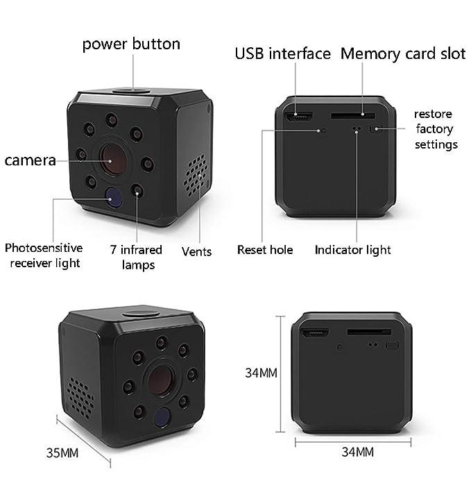 OMZBM 1080P HD 360 ° Girar Wireless WiFi Mini Cámara Smart Home Portátil Multifunción Pequeña Seguridad Niñera Cámara con Detección De Movimiento para ...