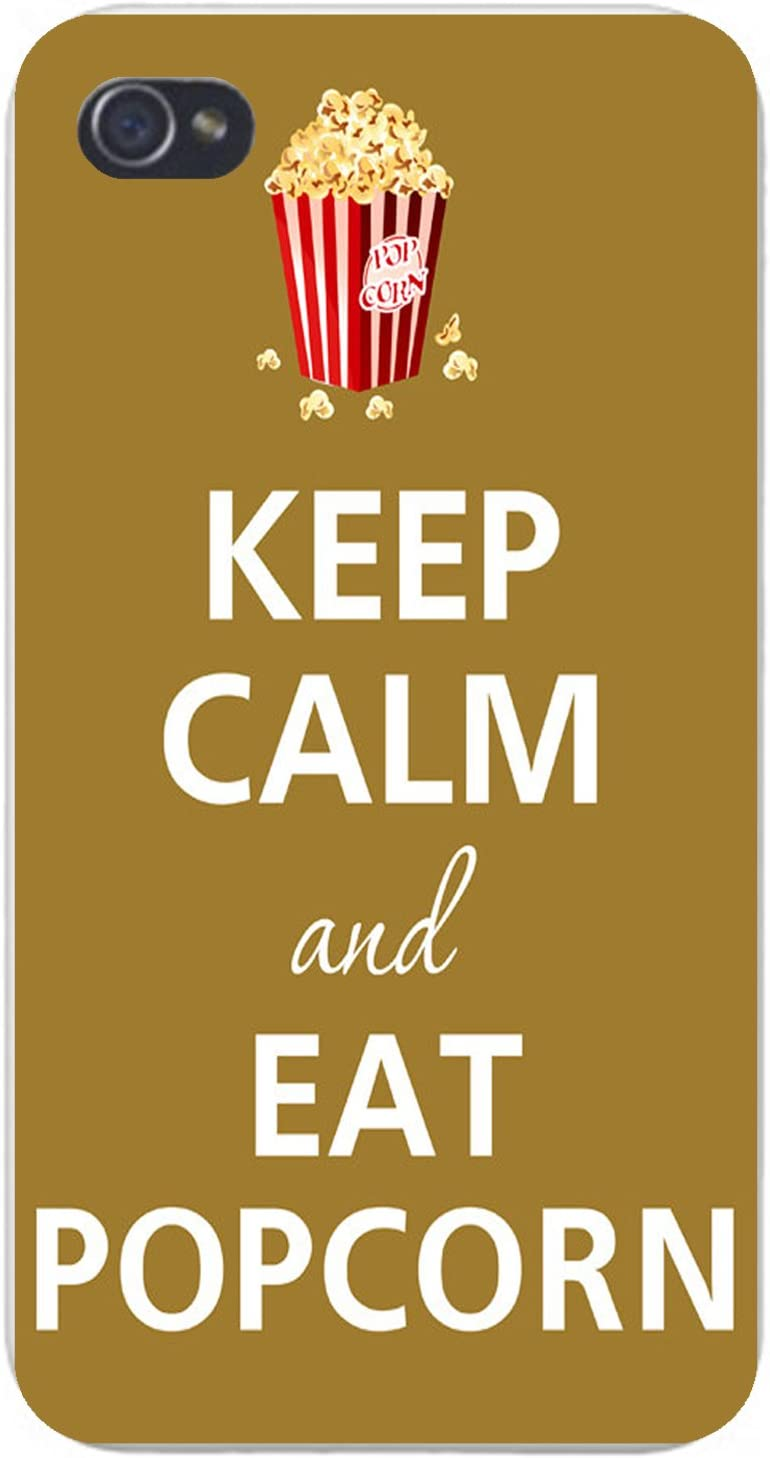 Apple iPhone Custom Case 5 / 5s and SE White Plastic Snap on - Keep Calm and Eat Popcorn