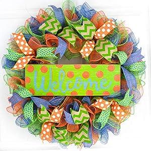 Green Summer Spring Welcome Deco Mesh Wreath | Orange Lime Green Denim Blue Jean Blue 3