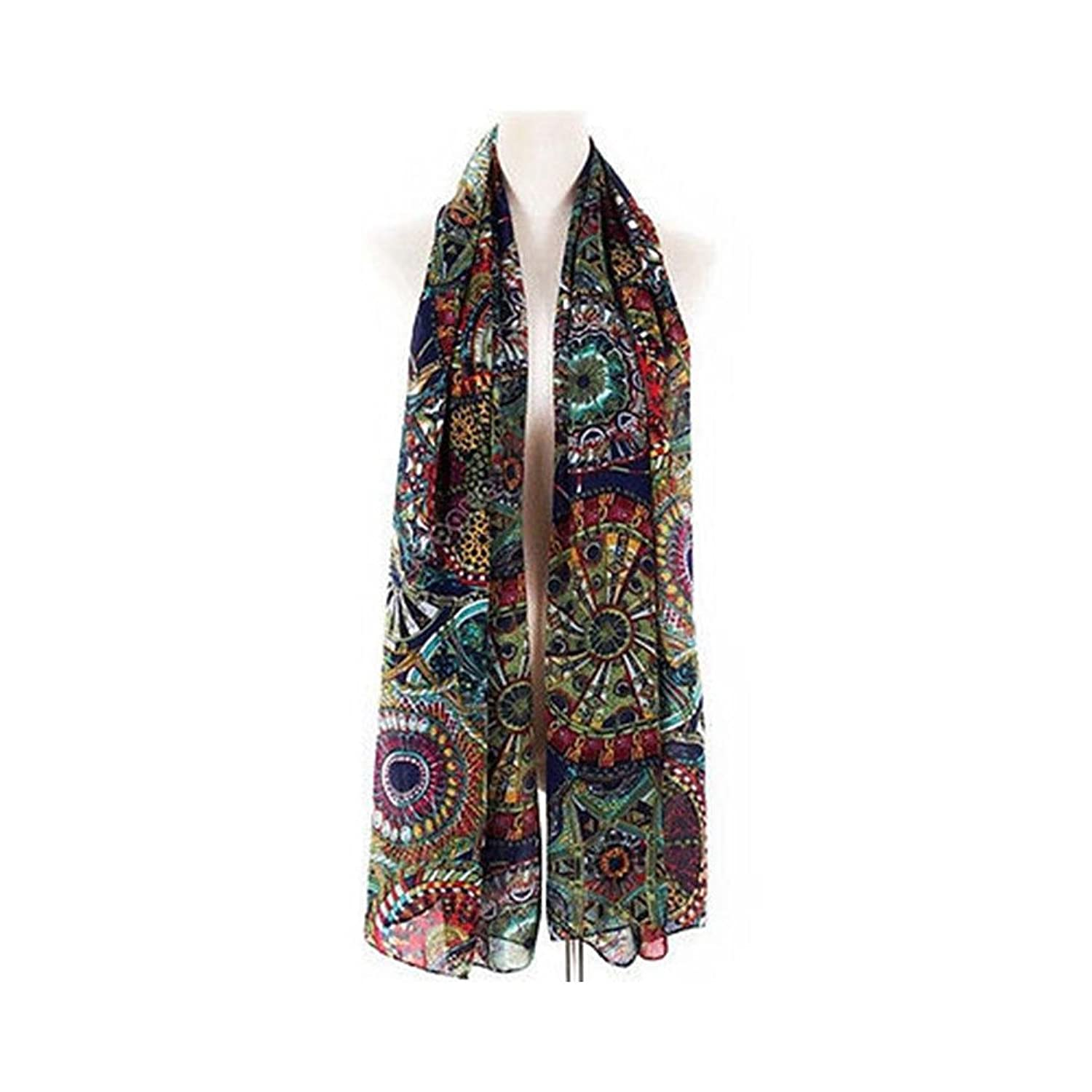 Blue Fashion Women's Girl Chiffon Print Silk Long Soft Neck Scarf Shawl Scarves Wraps