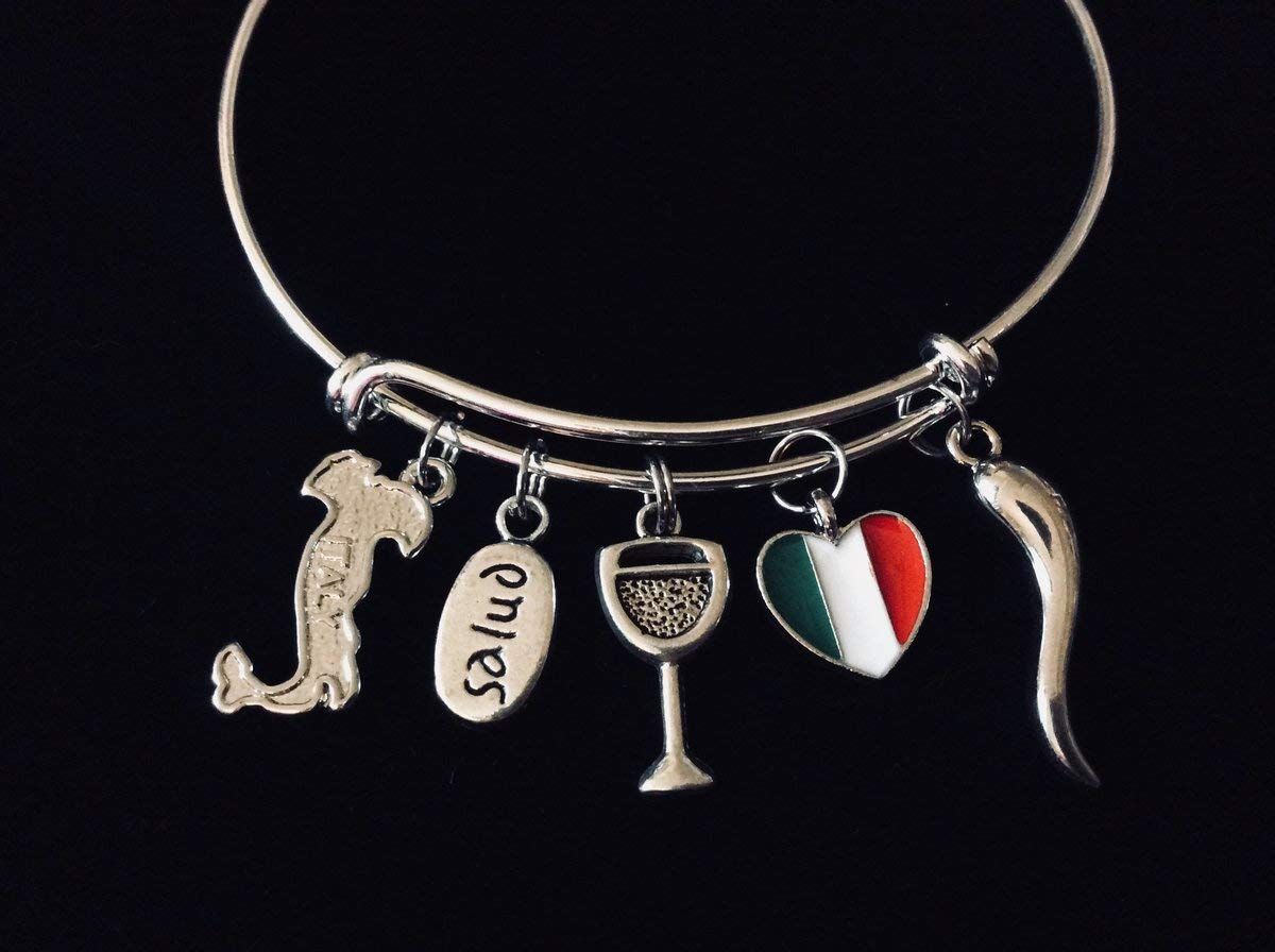 9d6cac04b Amazon.com: Italy Salud Flag Italian Horn Wine Glass Jewelry Adjustable Charm  Bracelet Silver Expandable Wire Bangle One Size Fits All Gift: Handmade