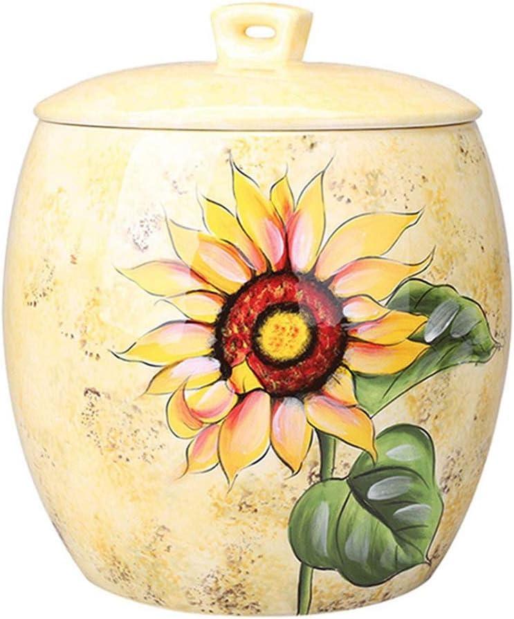 米びつ セラミックライスコンテナストレージ 茶はタンク/ランドスケープデザイン リビングルームの花瓶の装飾封印されたことができます (Color : Yellow, Size : 31*36cm)